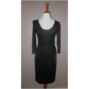 Boden Dress USA 4 Black Stretchy Knit Sheath L/S